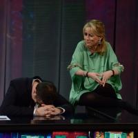 """Foto Nicoloro G. 10/03/2013 Milano Trasmissione televisiva su Rai3 """" Che tempo che fa """" condotta da Fabio Fazio. nella foto Fabio Fazio – Luciana Littizzetto"""