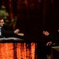 Foto Nicoloro G. 10-01-2016 Milano Trasmissione televisiva su Rai 3 ' Che tempo che fa '. nella foto Fabio Fazio e l' ex tennista e giornalista Gianni Clerici.