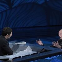 """Foto Nicoloro G. 10/04/2011 Milano Trasmissione televisiva su Rai3 """" Che tempo che fa """" condotta da Fabio Fazio. nella foto Fabio Fazio – Zygmunt Bauman"""