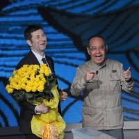 """Foto Nicoloro G. 10/04/2011 Milano Trasmissione televisiva su Rai3 """" Che tempo che fa """" condotta da Fabio Fazio. nella foto Fabio Fazio – Gianni Boncompagni"""