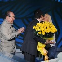 """Foto Nicoloro G. 10/04/2011 Milano Trasmissione televisiva su Rai3 """" Che tempo che fa """" condotta da Fabio Fazio. nella foto Gianni Boncompagni –  Fabio Fazio – Raffaella Carrà"""