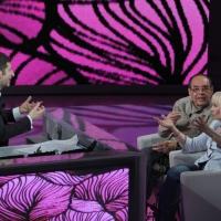 """Foto Nicoloro G. 10/04/2011 Milano Trasmissione televisiva su Rai3 """" Che tempo che fa """" condotta da Fabio Fazio. nella foto Fabio Fazio – Gianni Boncompagni – Raffaella Carrà"""