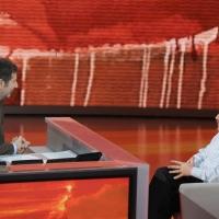 """Foto Nicoloro G. 15/10/2011 Milano Trasmissione televisiva su Rai3 """" Che tempo che fa """" condotta da Fabio Fazio. nella foto Fabio Fazio – Luca Mercalli"""