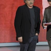 """Foto Nicoloro G. 15/10/2011 Milano Trasmissione televisiva su Rai3 """" Che tempo che fa """" condotta da Fabio Fazio. nella foto Gianmaria Testa – Fabio Fazio"""
