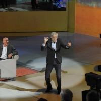 """Foto Nicoloro G. 16/10/2011 Milano Trasmissione su Rai3 """" Che tempo che fa """" condotta da Fabio Fazio. nella foto Claudio Bisio – Teo Teocoli"""
