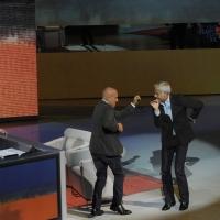 """Foto Nicoloro G. 16/10/2011 Milano Trasmissione su Rai3 """" Che tempo che fa """" condotta da Fabio Fazio. nella foto Fabio Fazio – Claudio Bisio – Teo Teocoli"""