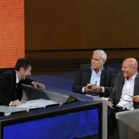 """Foto Nicoloro G. 16/10/2011 Milano Trasmissione su Rai3 """" Che tempo che fa """" condotta da Fabio Fazio. nella foto Fabio Fazio – Teo Teocoli – Claudio Bisio"""