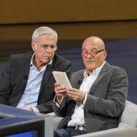 """Foto Nicoloro G. 16/10/2011 Milano Trasmissione su Rai3 """" Che tempo che fa """" condotta da Fabio Fazio. nella foto Teo Teocoli – Claudio Bisio"""