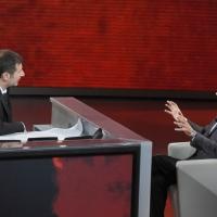 """Foto Nicoloro G. 16/10/2011 Milano Trasmissione su Rai3 """" Che tempo che fa """" condotta da Fabio Fazio. nella foto Fabio Fazio – Ezio Mauro"""
