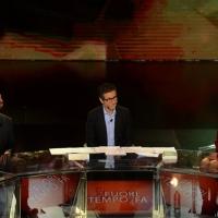 Foto Nicoloro G.   17/10/2015  Milano    Trasmissione televisiva su Rai 3 ' Che fuori tempo che fa '. nella foto da sinistra Fabio Volo, Fabio Fazio e Margherita Buy.