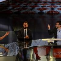 Foto Nicoloro G.   17/10/2015  Milano    Trasmissione televisiva su Rai 3 ' Che fuori tempo che fa '. nella foto da sinistra Geppi Cucciari, Fabio Volo e Fabio Fazio.