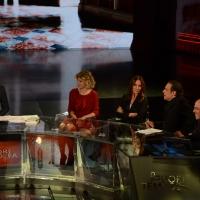 Foto Nicoloro G.   17/10/2015  Milano    Trasmissione televisiva su Rai 3 ' Che fuori tempo che fa '. nella foto da sinistra Fabio Fazio, Margherita Buy, Maria Sole Tognazzi, Nino Frassica e Massimo Gramellini.