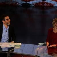 Foto Nicoloro G.   17/10/2015  Milano    Trasmissione televisiva su Rai 3 ' Che fuori tempo che fa '. nella foto Fabio Fazio e l' attrice Margherita Buy.