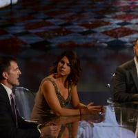 Foto Nicoloro G.   17/10/2015  Milano    Trasmissione televisiva su Rai 3 ' Che fuori tempo che fa '. nella foto da sinistra Armin Zoggeler, Geppi Cucciari e Fabio Volo.