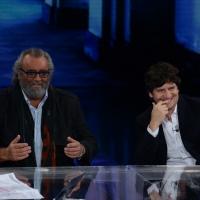 Foto Nicoloro G.   18/10/2014   Milano    Trasmissione televisiva su Rai 3 ' Che tempo che fa '. nella foto gli attori Diego Abatantuono, a sinistra, e Fabio De Luigi.