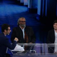 Foto Nicoloro G.   18/10/2014   Milano    Trasmissione televisiva su Rai 3 ' Che tempo che fa '. nella foto Fabio Fazio e gli attori Diego Abatantuono e Fabio De Luigi.