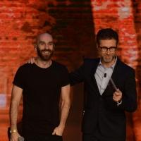Foto Nicoloro G.   18/10/2015    Milano   Trasmissione televisiva su Rai 3 ' Che tempo che fa '. nella foto Fabio Fazio con Sam Harris la voce degli  X Ambassadors.