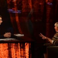 Foto Nicoloro G.   18/10/2015    Milano   Trasmissione televisiva su Rai 3 ' Che tempo che fa '. nella foto Fabio Fazio intervista il critico d' arte Flavio Caroli.