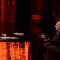 Foto Nicoloro G.   18/10/2015    Milano   Trasmissione televisiva su Rai 3 ' Che tempo che fa '. nella foto Fabio Fazio e Walter Veltroni, qui in veste di scrittore.