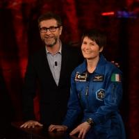 Foto Nicoloro G.   18/10/2015    Milano   Trasmissione televisiva su Rai 3 ' Che tempo che fa '. nella foto Fabio Fazio e l' astronauta Samantha Cristoforetti.