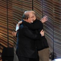 """Foto Nicoloro G. 19/11/2012 Milano Trasmissione televisiva su Rai3 """" Che tempo che fa """" condotta da Fabio Fazio. nella foto Roberto Saviano – Salman Rushdie"""