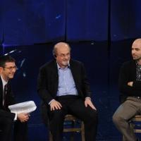 """Foto Nicoloro G. 19/11/2012 Milano Trasmissione televisiva su Rai3 """" Che tempo che fa """" condotta da Fabio Fazio. nella foto Fabio Fazio – Roberto Saviano – Salman Rushdie"""