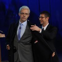 """Foto Nicoloro G. 19/11/2012 Milano Trasmissione televisiva su Rai3 """" Che tempo che fa """" condotta da Fabio Fazio. nella foto Neri Marcorè – Fabio Fazio"""