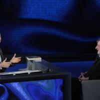 """Foto Nicoloro G. 19/03/2011 Milano Trasmissione televisiva su Rai3 """" Che tempo che fa """" condotta da Fabio Fazio. nella foto Fabio Fazio – Francesco Guccini"""