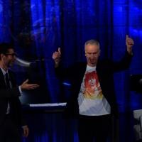 """Foto Nicoloro G.   19/10/2014   Milano   Trasmissione televisiva su Rai 3 """" Che tempo che fa"""". nella foto Fabio Fazio e il campione di tennis John Mc Enroe."""