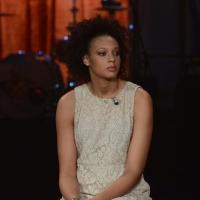 """Foto Nicoloro G.   19/10/2014   Milano   Trasmissione televisiva su Rai 3 """" Che tempo che fa"""". nella foto la campionessa di pallavolo Valentina Diouf."""