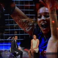 """Foto Nicoloro G.   19/10/2014   Milano   Trasmissione televisiva su Rai 3 """" Che tempo che fa"""". nella foto Fabio Fazio e la campionessa di pallavolo Valentina Diouf."""