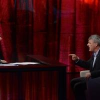"""Foto Nicoloro G.   19/10/2014   Milano   Trasmissione televisiva su Rai 3 """" Che tempo che fa"""". nella foto Fabio Fazio e il segretario FIOM Maurizio Landini."""