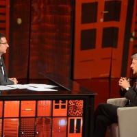 """Foto Nicoloro G. 20/04/2013 Milano Trasmissione televisiva su Rai3 """" Che tempo che fa """" condotta da Fabio Fazio. nella foto Fabio Fazio – Ferruccio de Bortoli"""