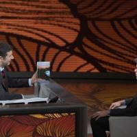 """Foto Nicoloro G.  20/03/2011 Milano Trasmissione televisiva su Rai3 """" Che tempo che fa """" condotta da Fabio Fazio. nella foto Fabio Fazio – Jonathan Franzen"""
