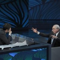"""Foto Nicoloro G. 20/03/2011 Milano Trasmissione televisiva su Rai3 """" Che tempo che fa """" condotta da Fabio Fazio. nella foto Fabio Fazio – Giuliano Amato"""