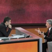 """Foto Nicoloro G. 20/11/2011 Milano Trasmissione televisiva su Rai3″ Che tempo che fa """" condotta da Fabio Fazio. nella foto Fabio Fazio – Nichi Vendola"""