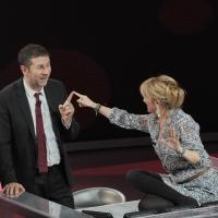 """Foto Nicoloro G. 20/11/2011 Milano Trasmissione televisiva su Rai3″ Che tempo che fa """" condotta da Fabio Fazio. nella foto Fabio Fazio – Luciana Littizzetto"""