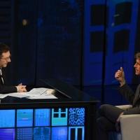 """Foto Nicoloro G. 21/04/2013 Milano Trasmissione televisiva su Rai3 """" Che tempo che fa """" condotta da Fabio Fazio. nella foto Fabio Fazio – Guido Barilla"""