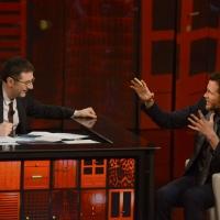 """Foto Nicoloro G. 21/04/2013 Milano Trasmissione televisiva su Rai3 """" Che tempo che fa """" condotta da Fabio Fazio. nella foto Fabio Fazio – Jovanotti"""