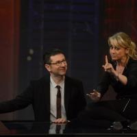 """Foto Nicoloro G. 21/04/2013 Milano Trasmissione televisiva su Rai3 """" Che tempo che fa """" condotta da Fabio Fazio. nella foto Fabio Fazio – Luciana Littizzetto"""