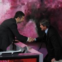 """Foto Nicoloro G. 21/01/2012 Milano Trasmissione televisiva su Rai3 """" Che tempo che fa """" condotta da Fabio Fazio. nella foto Fabio Fazio – Gianni Alemanno"""