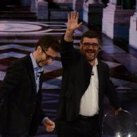 """Foto Nicoloro G.   21/02/2015   Milano    Trasmissione televisiva su Rai 3 """" Che fuori tempo che f a """". nella foto Fabio Fazio e l' attore Francesco Pannofino."""