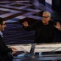 """Foto Nicoloro G.   21/02/2015   Milano    Trasmissione televisiva su Rai 3 """" Che fuori tempo che f a """". nella foto Fabio Fazio con l' attore Teo Teocoli."""