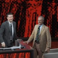 """Foto Nicoloro G. 22/01/2011 Milano Trasmissione televisiva su Rai3 """" Che tempo che fa """" condotta da Fabio Fazio. nella foto Fabio Fazio – Gad Lerner"""
