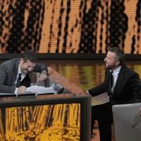 """Foto Nicoloro G. 22/01/2011 Milano Trasmissione televisiva su Rai3 """" Che tempo che fa """" condotta da Fabio Fazio. nella foto Fabio Fazio – Christian De Sica"""