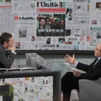 """Foto Nicoloro G. 22/01/2011 Milano Trasmissione televisiva su Rai3 """" Che tempo che fa """" condotta da Fabio Fazio. nella foto Fabio Fazio – Massimo Gramellini"""