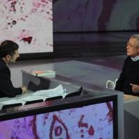 """Foto Nicoloro G. 22/01/2012 Milano Trasmissione televisiva su Rai3 """" Che tempo che fa """" condotta da Fabio Fazio. nella foto Fabio Fazio – Giulio Tremonti"""