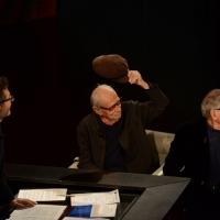"""Foto Nicoloro G.   22/02/2015   Milano   Trasmissione televisiva su Rai 3 """" Che tempo che fa"""". nella foto Fabio Fazio con i fratelli registi Vittorio, a sinistra, e Paolo Taviani."""