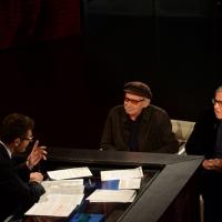 """Foto Nicoloro G.   22/02/2015   Milano   Trasmissione televisiva su Rai 3 """" Che tempo che fa"""". nella foto Fabio Fazio intervista i fratelli registi Vittorio, a sinistra, e Paolo Taviani."""