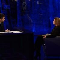 """Foto Nicoloro G.   22/02/2015   Milano   Trasmissione televisiva su Rai 3 """" Che tempo che fa"""". nella foto Fabio Fazio intervista Federica Mogherini, rappresentante UE per gli affari esteri."""